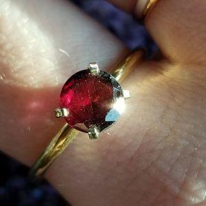 Vintage red gem ring gold on Sterling Silver 9.75